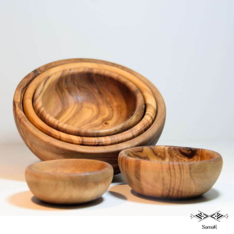 Série de bols en bois d'olivier Zitoun PM
