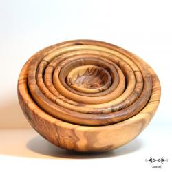Série de bols en bois d'olivier Zitoun GM