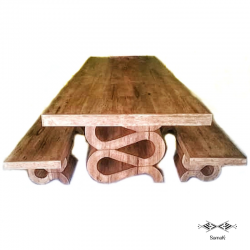 Table & Bancs Design en bois de palmier Chebbi sur-mesure