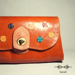 Sac Jamila couleur Camel motif Pois