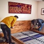 • Mobilier sur-mesure • Aujourd'hui nous avons livré et installé une commande de meubles sur-mesure chez l'une de nos clientes. Parmi le mobilier commandé, ce cadre de lit en bois de palmier, qu'en dites-vous ? 😀 . . . . #mobilier #meublessurmesure #meuble #meublebois #bois #artisanatdart #lit #cadredelit #litbois #commandesurmesure #livraisonadomicile #lyon #designwood #palmier #furnitures #handmadefurnitures #bedwood #woodisbeautiful